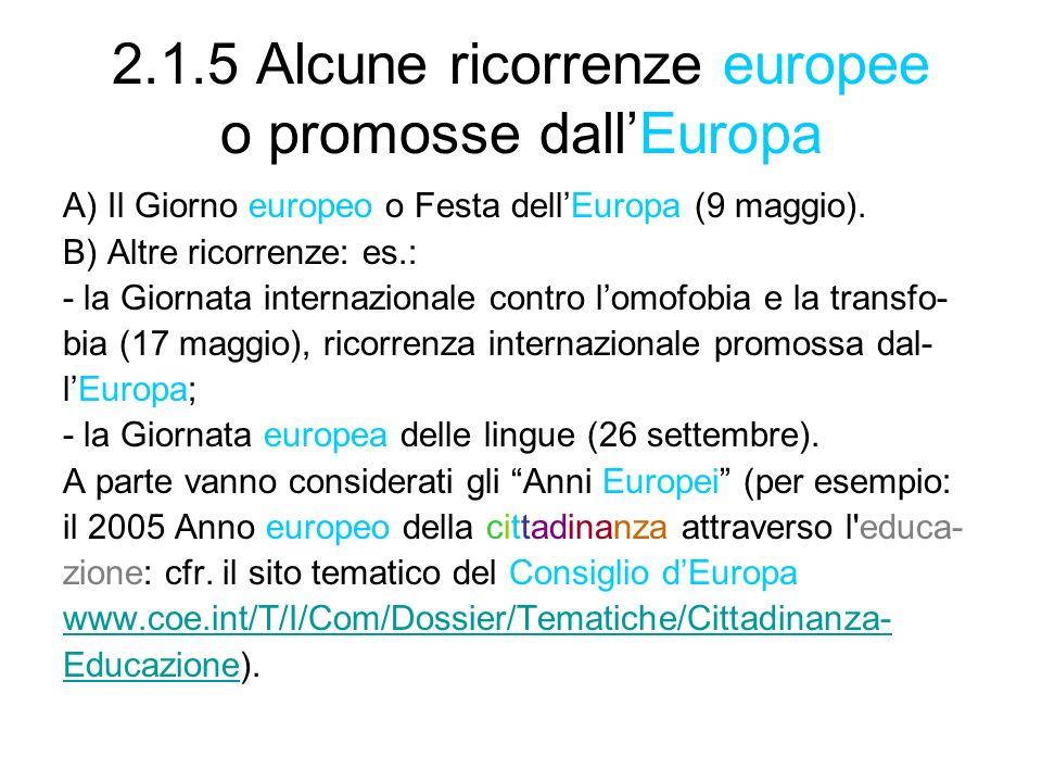 2.1.5 Alcune ricorrenze europee o promosse dall'Europa