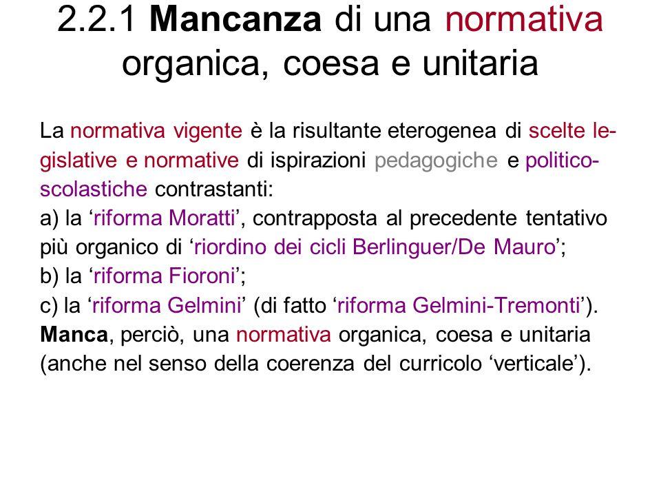 2.2.1 Mancanza di una normativa organica, coesa e unitaria