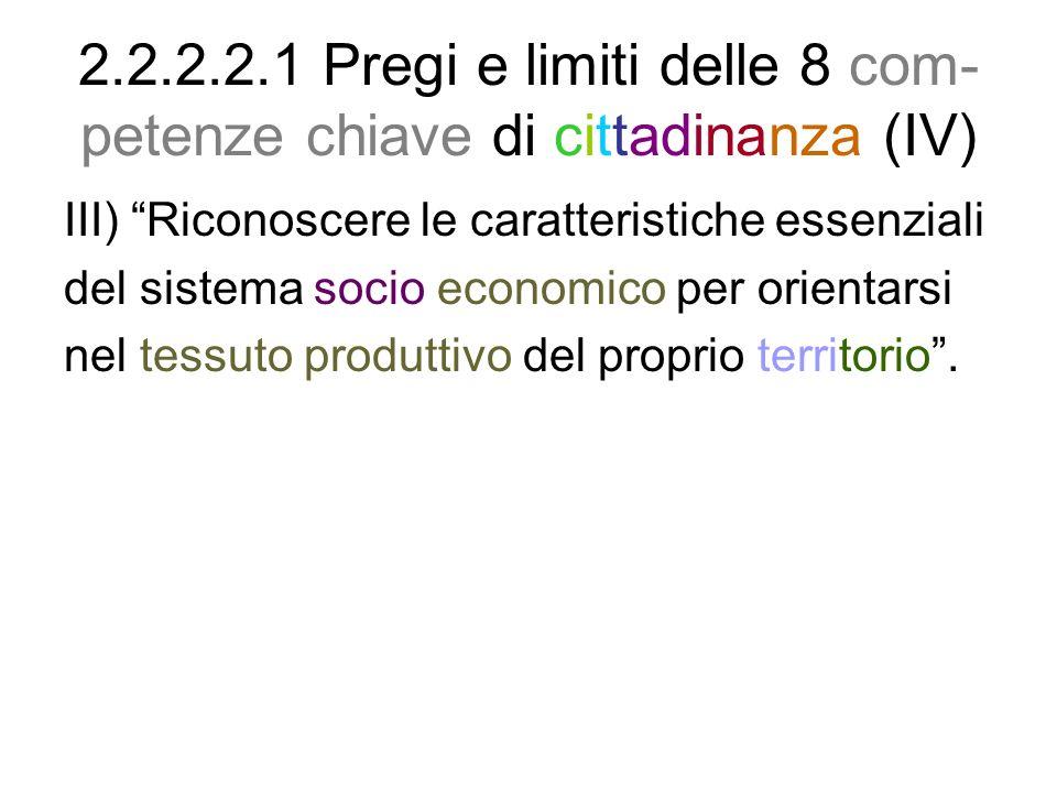2.2.2.2.1 Pregi e limiti delle 8 com-petenze chiave di cittadinanza (IV)