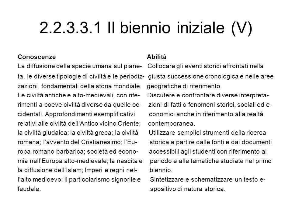 2.2.3.3.1 Il biennio iniziale (V)