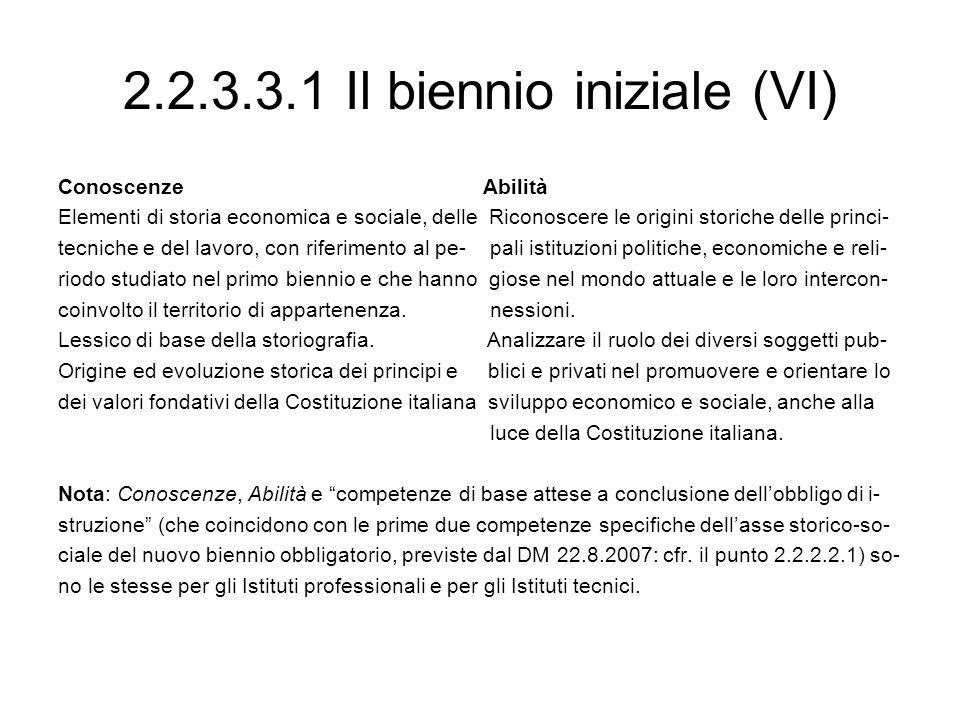 2.2.3.3.1 Il biennio iniziale (VI)
