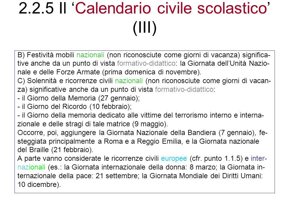 2.2.5 Il 'Calendario civile scolastico' (III)
