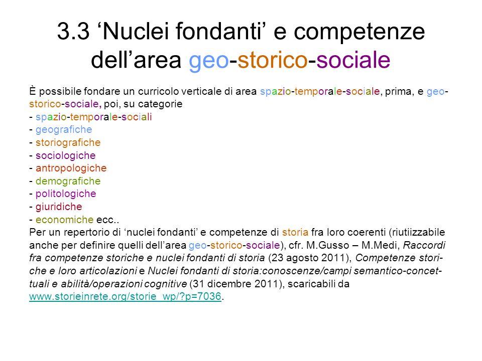 3.3 'Nuclei fondanti' e competenze dell'area geo-storico-sociale