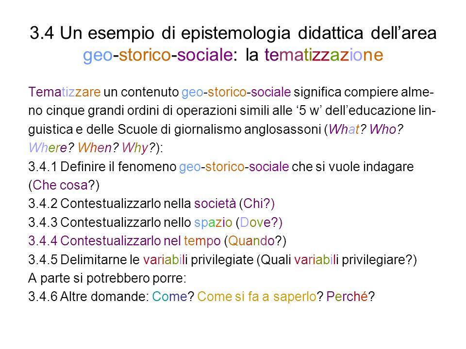 3.4 Un esempio di epistemologia didattica dell'area geo-storico-sociale: la tematizzazione