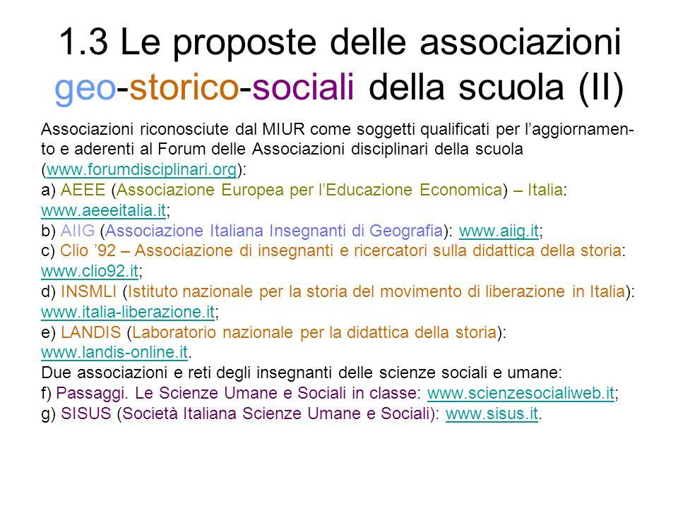 1.3 Le proposte delle associazioni geo-storico-sociali della scuola (II)