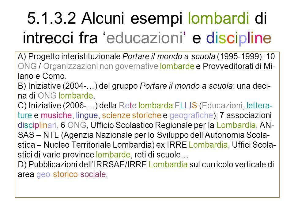 5.1.3.2 Alcuni esempi lombardi di intrecci fra 'educazioni' e discipline
