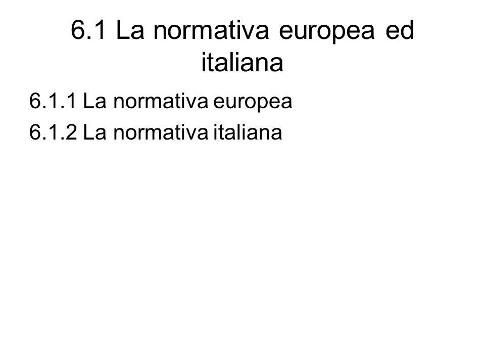 6.1 La normativa europea ed italiana