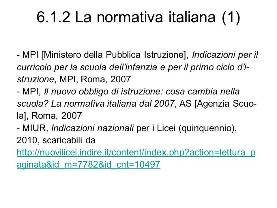 6.1.2 La normativa italiana (1)