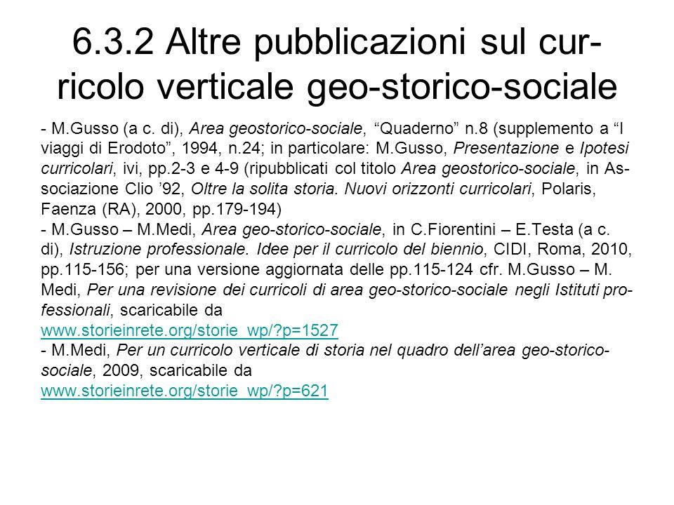 6.3.2 Altre pubblicazioni sul cur-ricolo verticale geo-storico-sociale