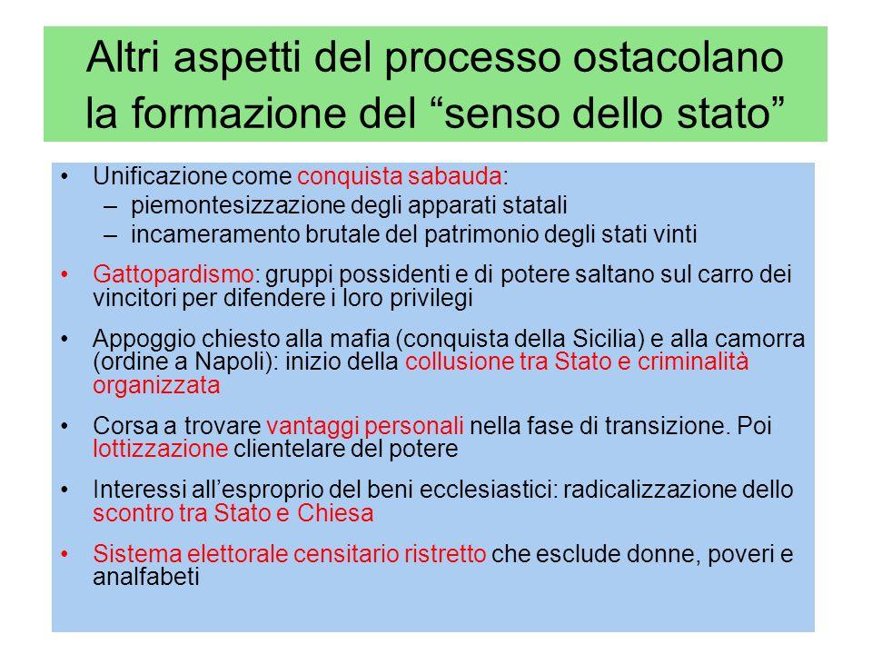 Altri aspetti del processo ostacolano la formazione del senso dello stato