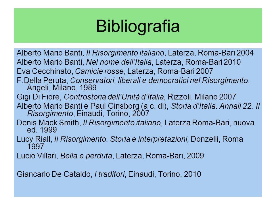 Bibliografia Alberto Mario Banti, Il Risorgimento italiano, Laterza, Roma-Bari 2004.