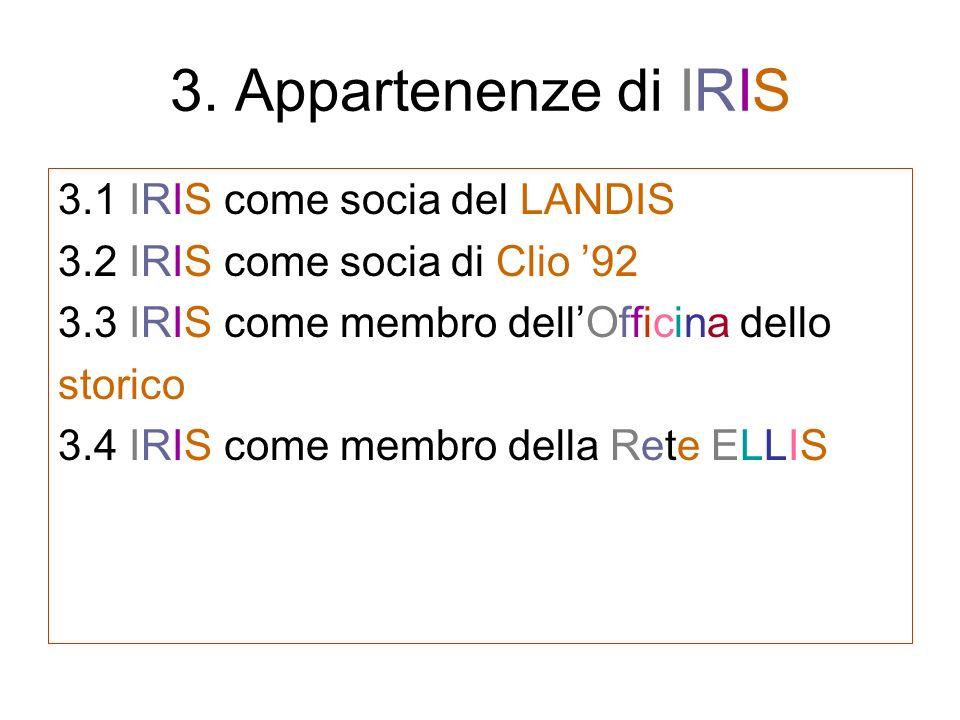 3. Appartenenze di IRIS 3.1 IRIS come socia del LANDIS