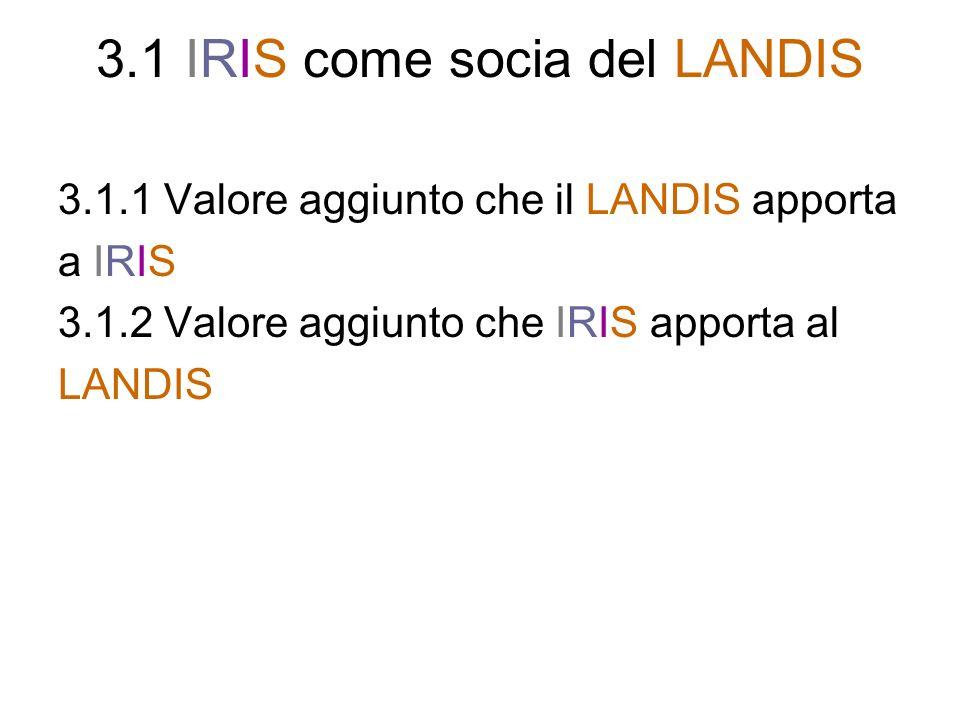 3.1 IRIS come socia del LANDIS
