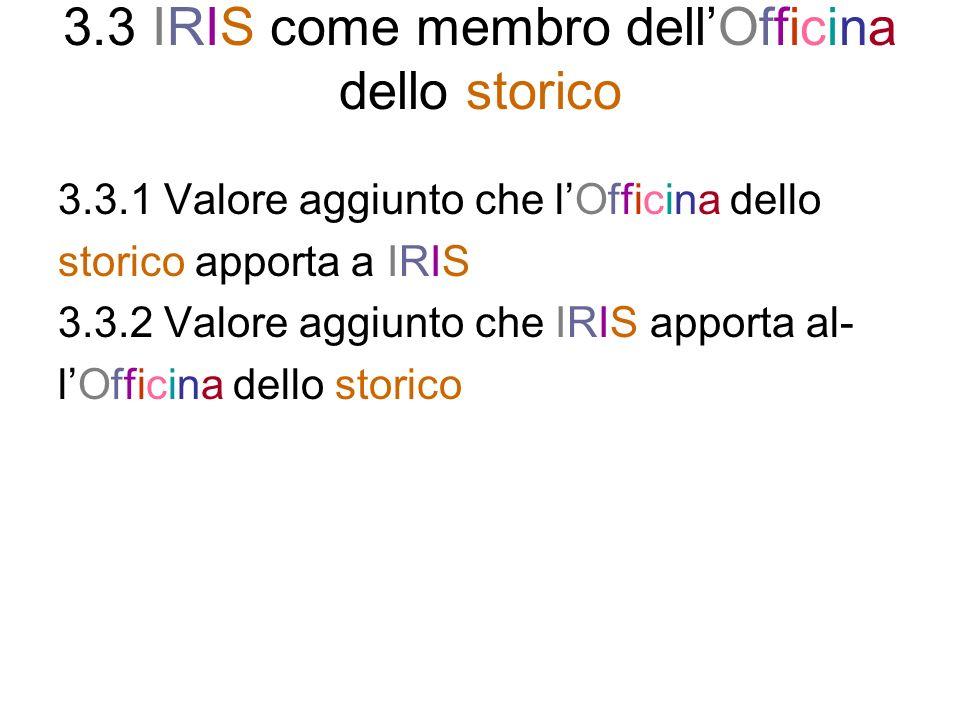 3.3 IRIS come membro dell'Officina dello storico