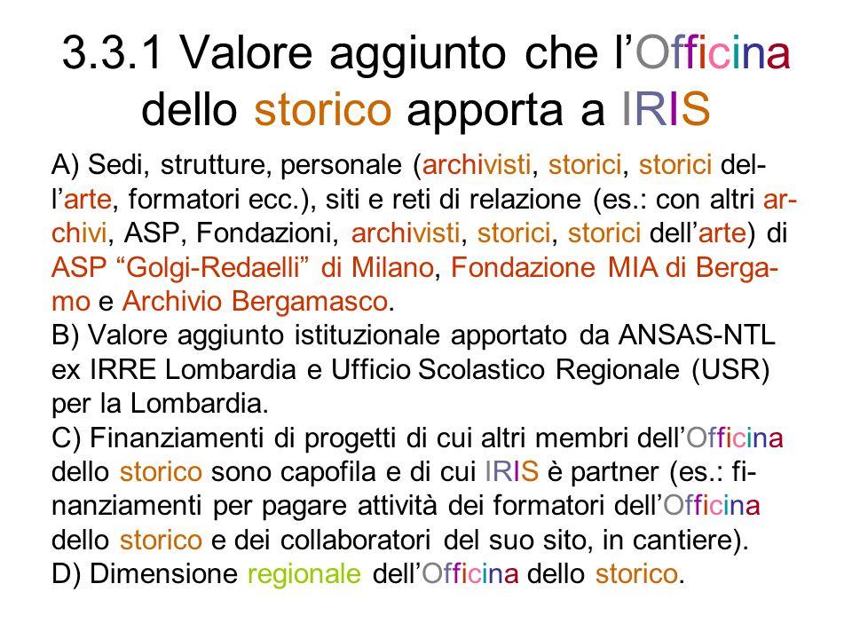 3.3.1 Valore aggiunto che l'Officina dello storico apporta a IRIS