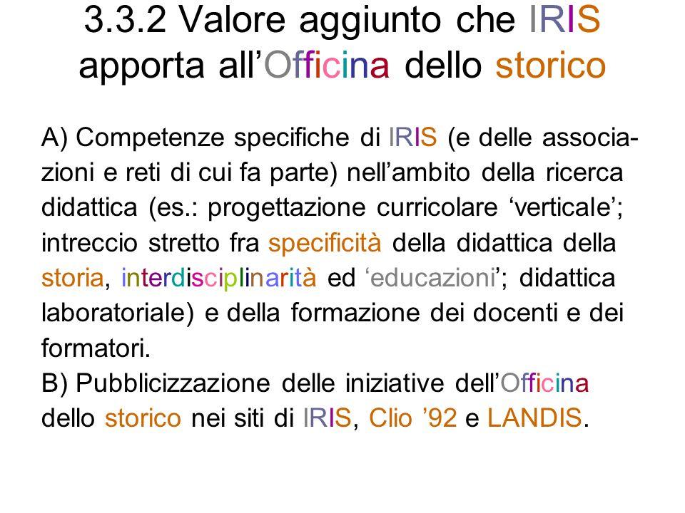 3.3.2 Valore aggiunto che IRIS apporta all'Officina dello storico