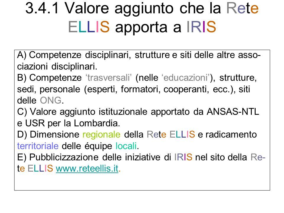 3.4.1 Valore aggiunto che la Rete ELLIS apporta a IRIS