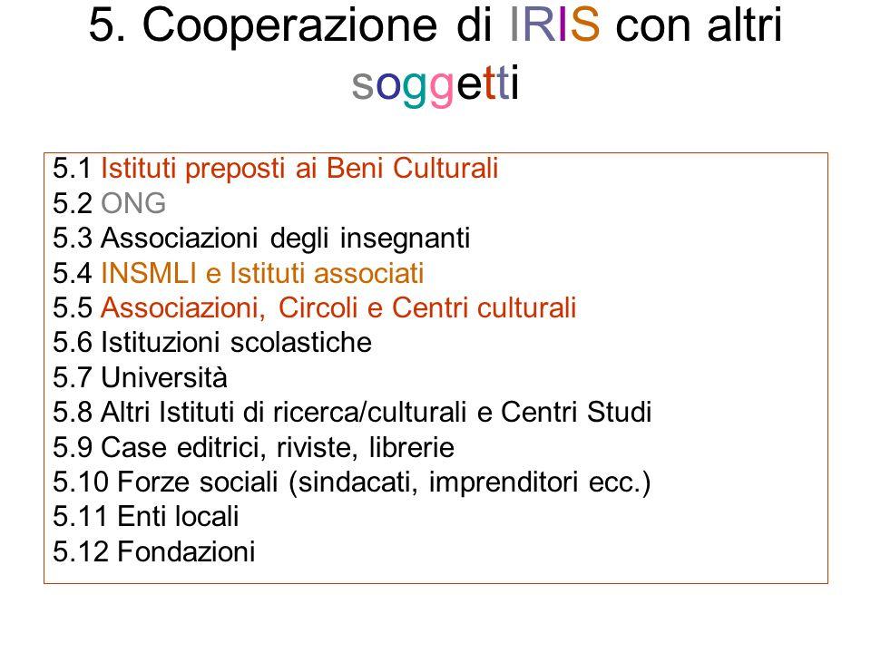 5. Cooperazione di IRIS con altri soggetti