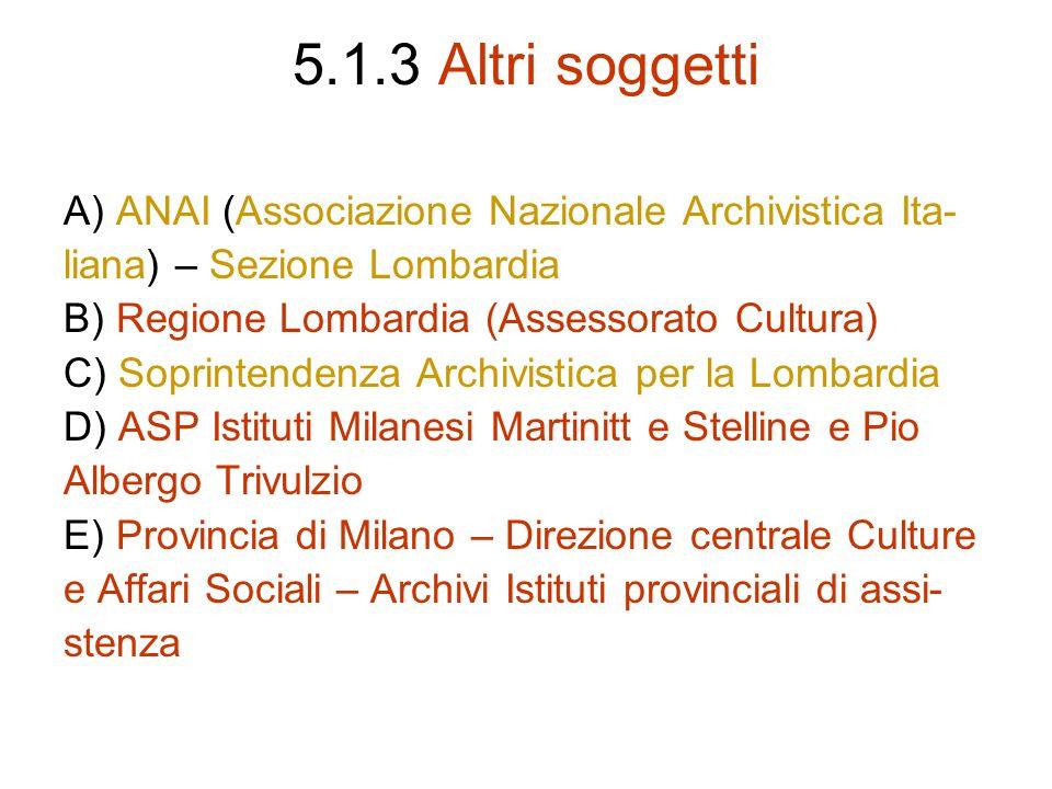 5.1.3 Altri soggetti A) ANAI (Associazione Nazionale Archivistica Ita-