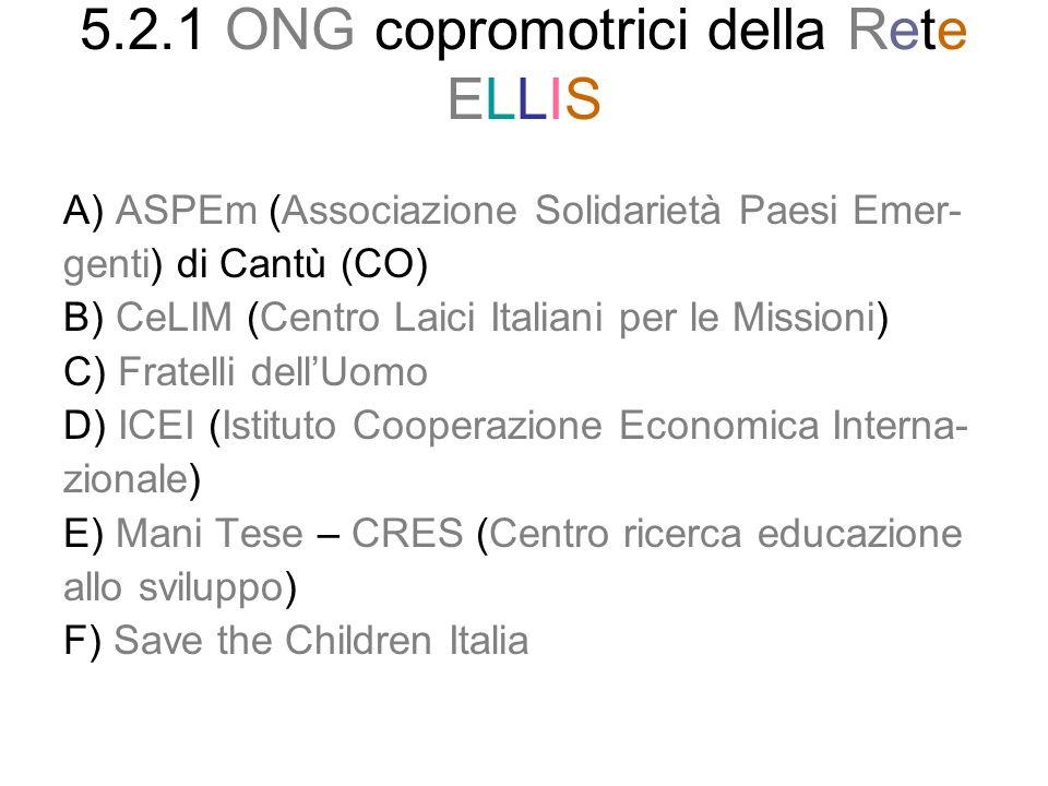 5.2.1 ONG copromotrici della Rete ELLIS