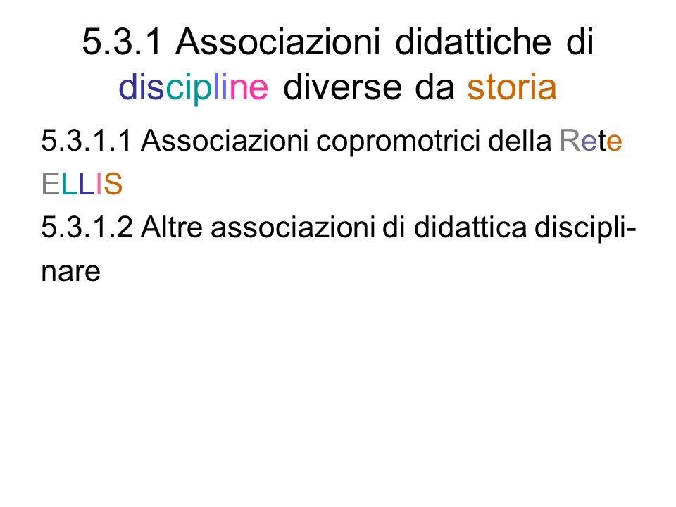 5.3.1 Associazioni didattiche di discipline diverse da storia