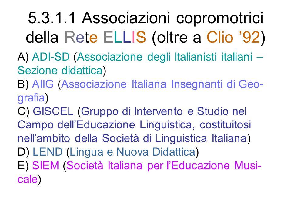 5.3.1.1 Associazioni copromotrici della Rete ELLIS (oltre a Clio '92)
