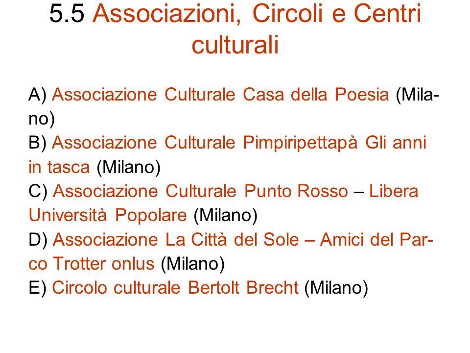 5.5 Associazioni, Circoli e Centri culturali
