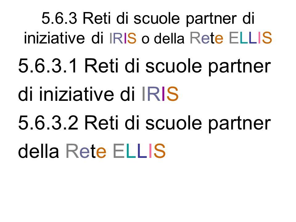 5.6.3 Reti di scuole partner di iniziative di IRIS o della Rete ELLIS