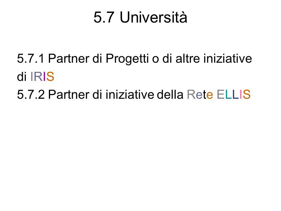 5.7 Università 5.7.1 Partner di Progetti o di altre iniziative di IRIS