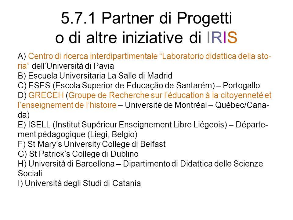 5.7.1 Partner di Progetti o di altre iniziative di IRIS