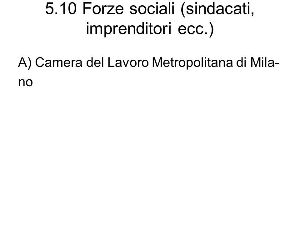 5.10 Forze sociali (sindacati, imprenditori ecc.)