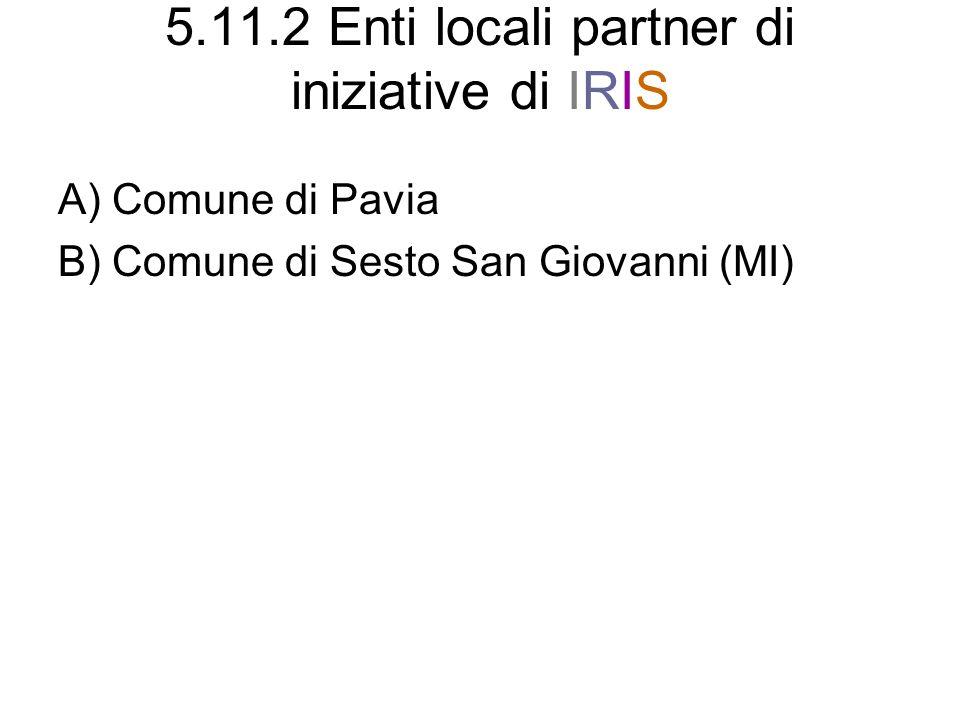 5.11.2 Enti locali partner di iniziative di IRIS