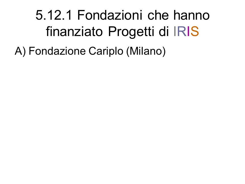 5.12.1 Fondazioni che hanno finanziato Progetti di IRIS