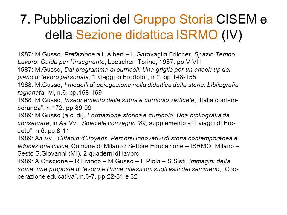 7. Pubblicazioni del Gruppo Storia CISEM e della Sezione didattica ISRMO (IV)