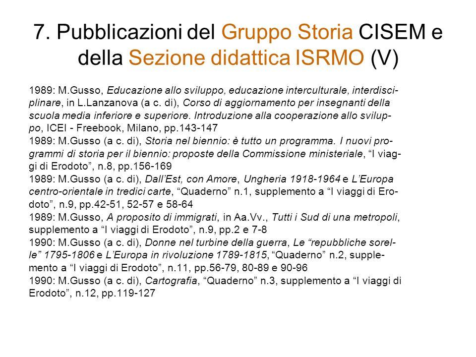 7. Pubblicazioni del Gruppo Storia CISEM e della Sezione didattica ISRMO (V)
