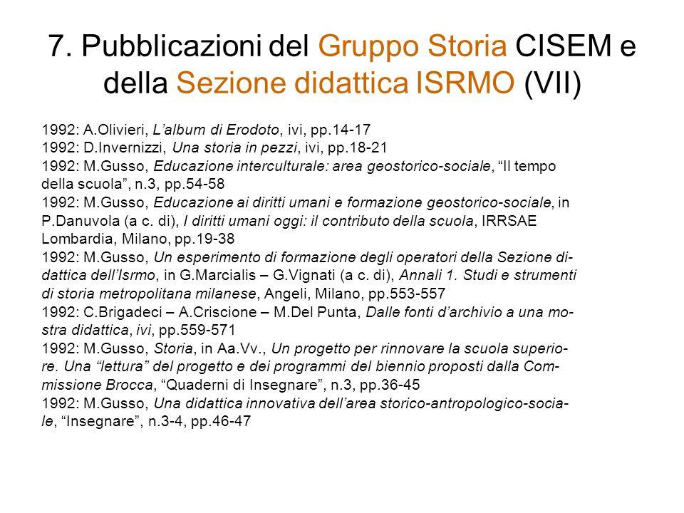 7. Pubblicazioni del Gruppo Storia CISEM e della Sezione didattica ISRMO (VII)