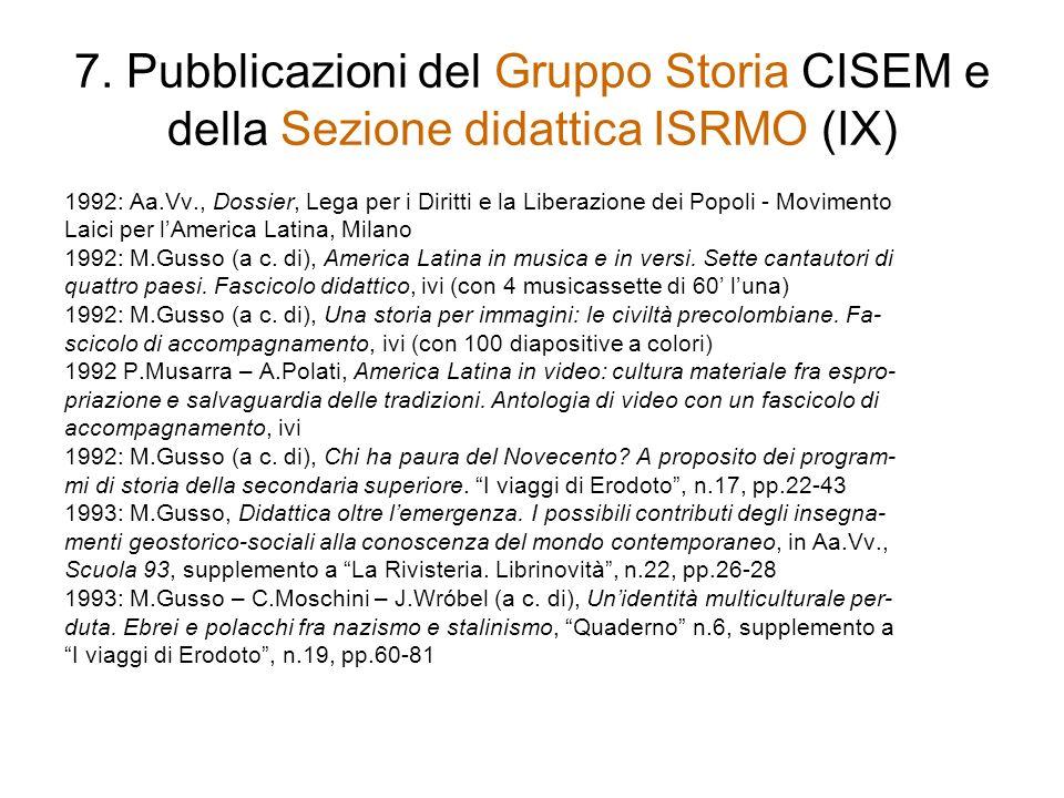 7. Pubblicazioni del Gruppo Storia CISEM e della Sezione didattica ISRMO (IX)