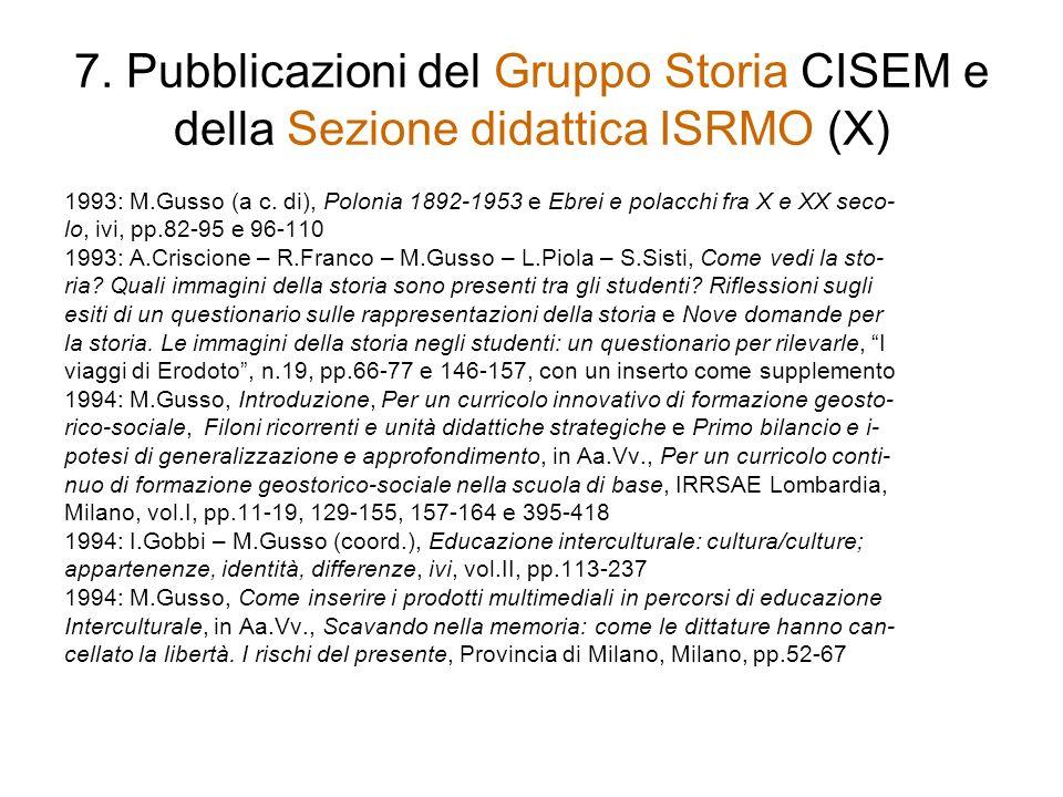 7. Pubblicazioni del Gruppo Storia CISEM e della Sezione didattica ISRMO (X)