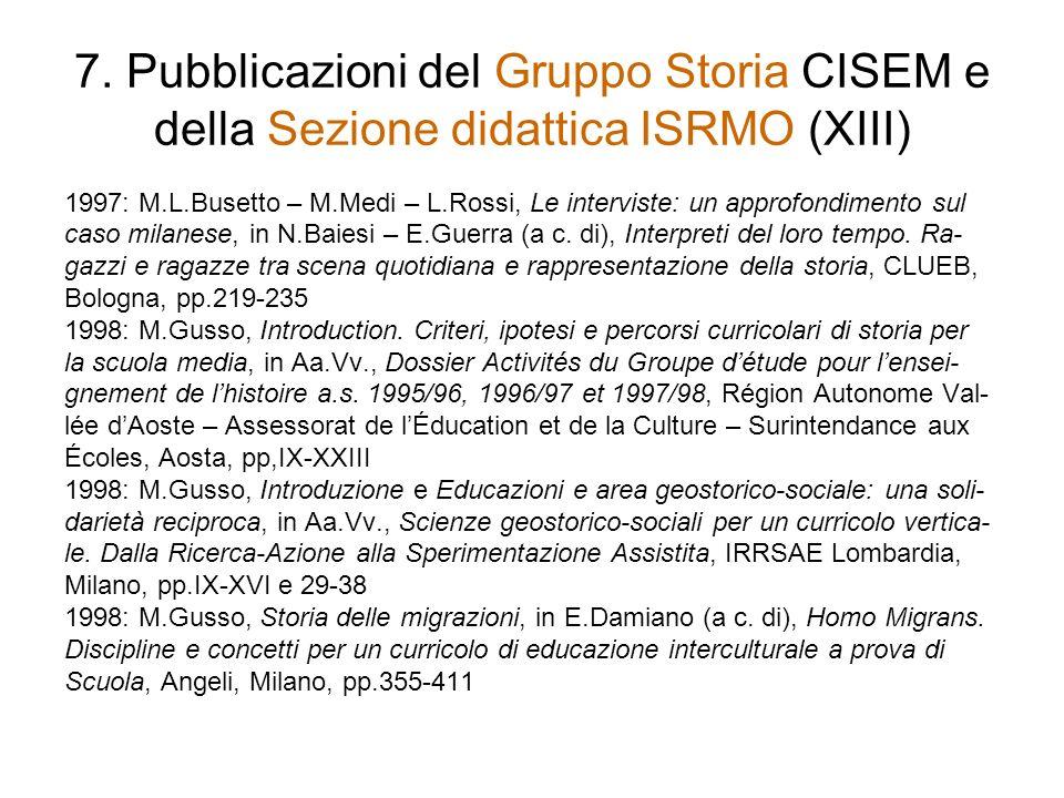 7. Pubblicazioni del Gruppo Storia CISEM e della Sezione didattica ISRMO (XIII)