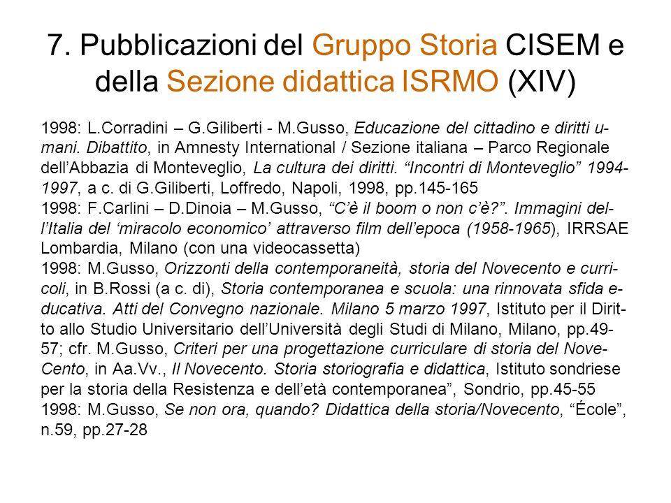 7. Pubblicazioni del Gruppo Storia CISEM e della Sezione didattica ISRMO (XIV)