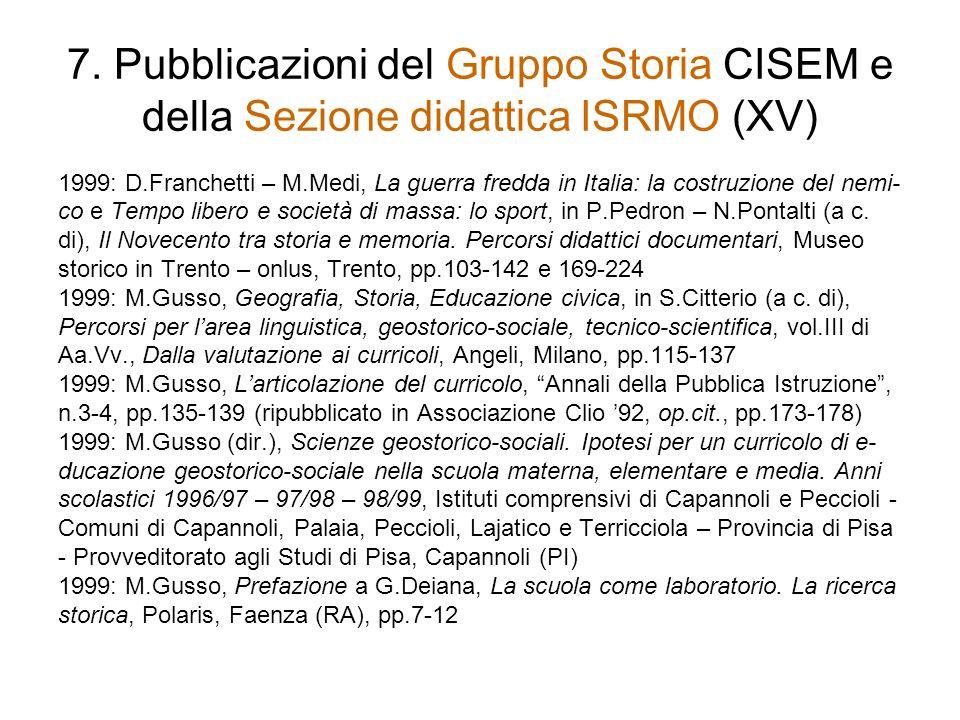 7. Pubblicazioni del Gruppo Storia CISEM e della Sezione didattica ISRMO (XV)