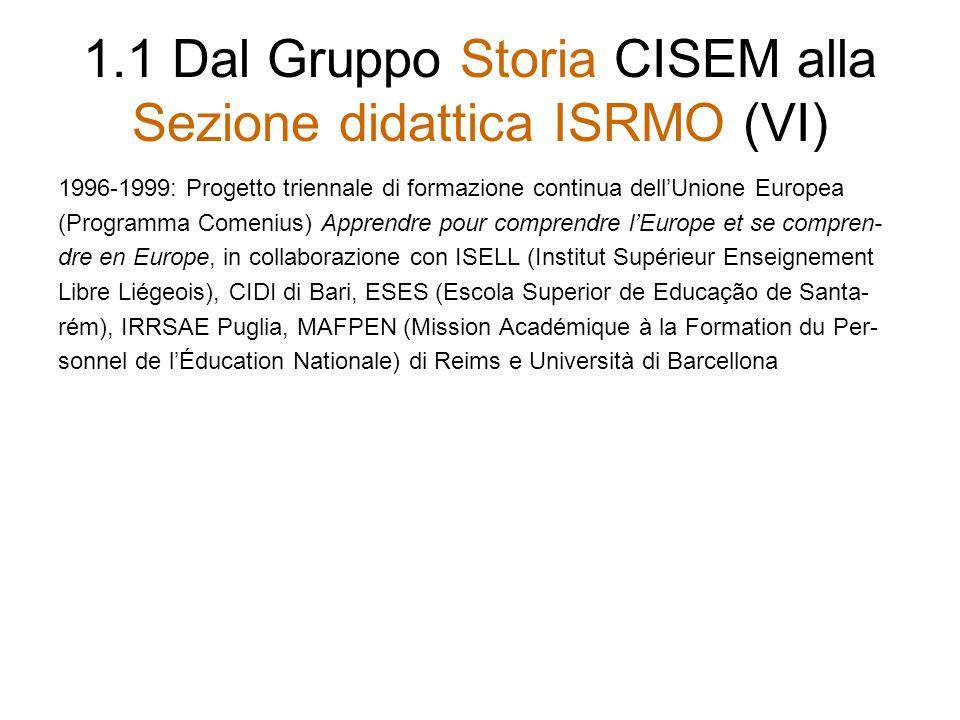 1.1 Dal Gruppo Storia CISEM alla Sezione didattica ISRMO (VI)