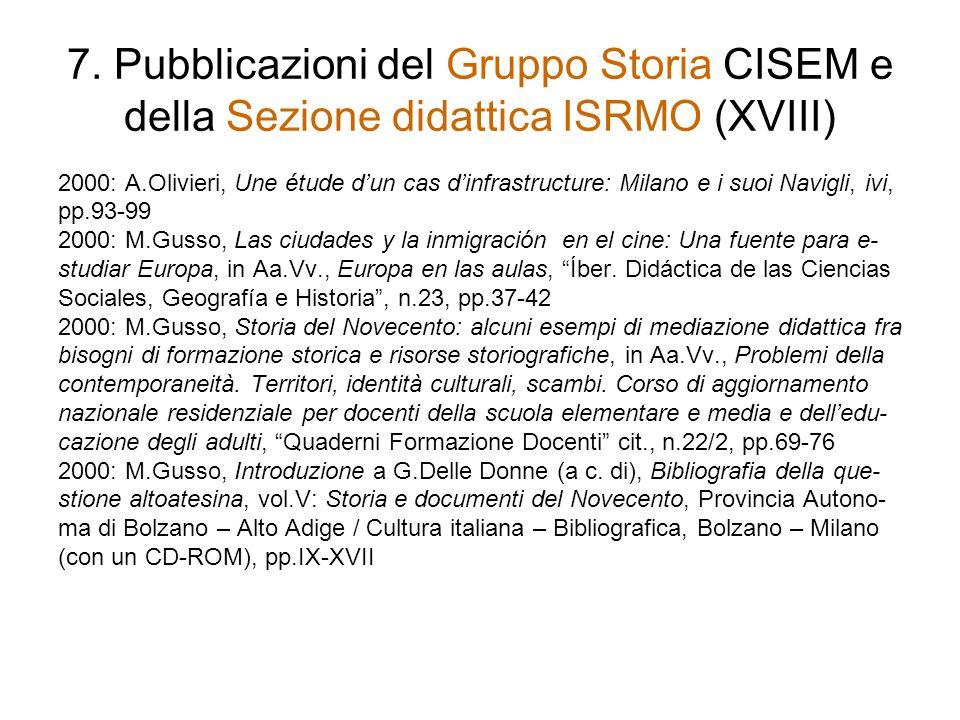 7. Pubblicazioni del Gruppo Storia CISEM e della Sezione didattica ISRMO (XVIII)