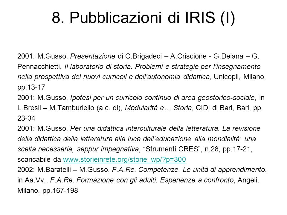 8. Pubblicazioni di IRIS (I)