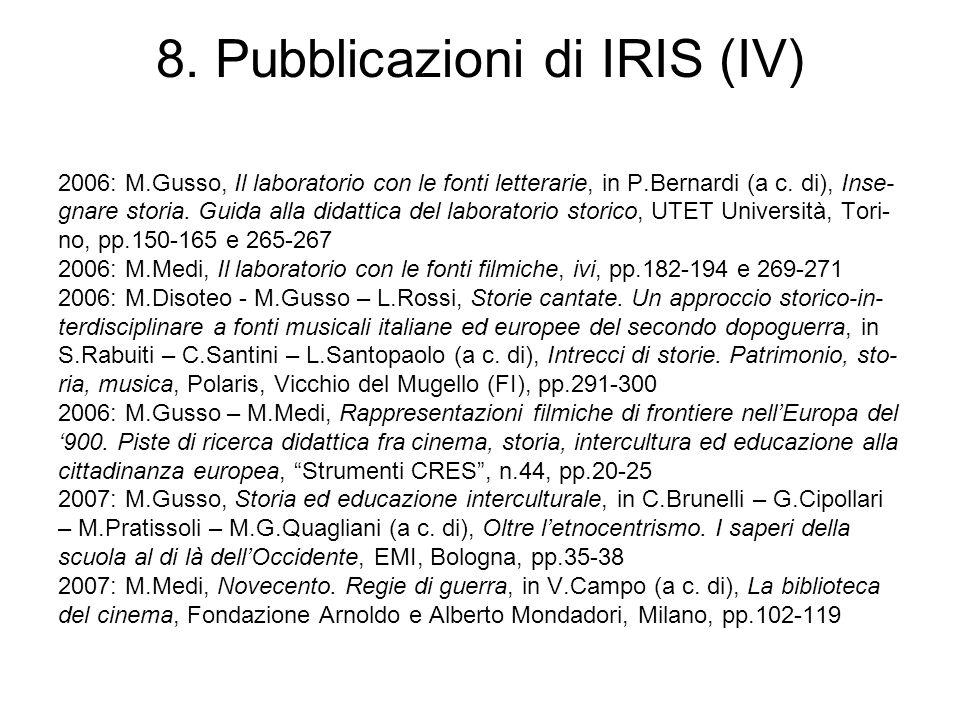 8. Pubblicazioni di IRIS (IV)