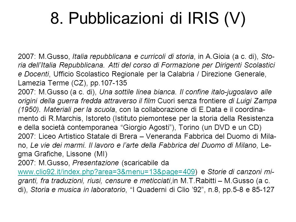 8. Pubblicazioni di IRIS (V)