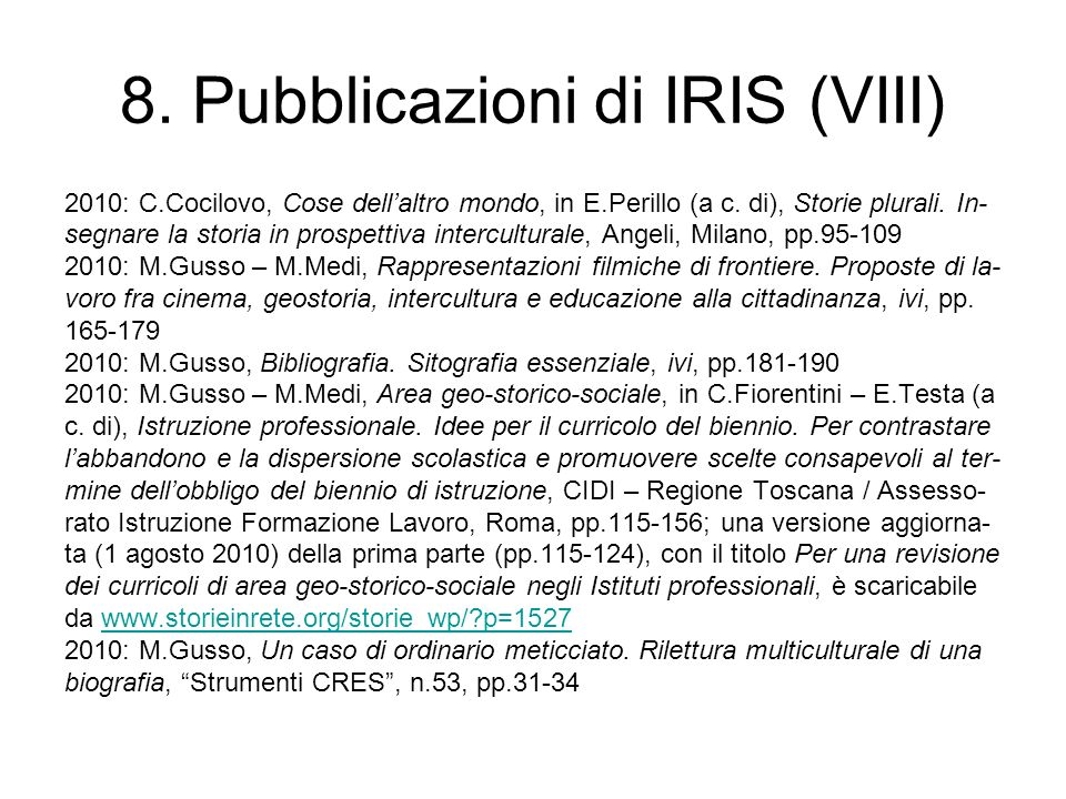 8. Pubblicazioni di IRIS (VIII)