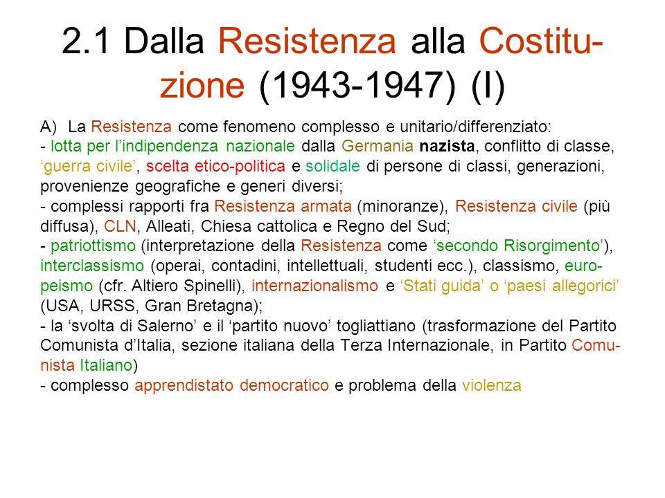 2.1 Dalla Resistenza alla Costitu-zione (1943-1947) (I)