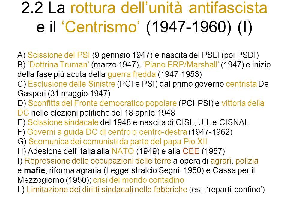 2.2 La rottura dell'unità antifascista e il 'Centrismo' (1947-1960) (I)