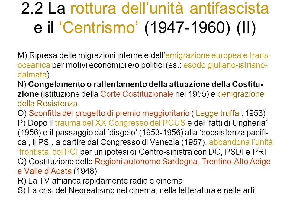 2.2 La rottura dell'unità antifascista e il 'Centrismo' (1947-1960) (II)